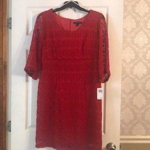 Red dress with lace overlay